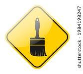 wet paint warning sign. yellow... | Shutterstock .eps vector #1984198247