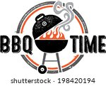 barbecue bbq time vintage... | Shutterstock .eps vector #198420194