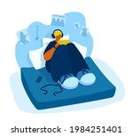 a teenager sitting on a bed in... | Shutterstock .eps vector #1984251401