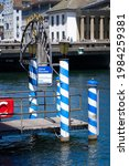 Small photo of Gangplank of landing station named Storchen (stork) at river Limmat at the old town of Zurich