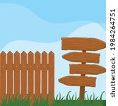 Wooden Fence Guidepost In Grass