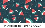 watermelon pattern and banner...   Shutterstock .eps vector #1984377227