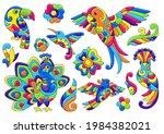 set of decorative tropical... | Shutterstock .eps vector #1984382021