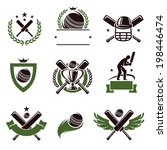 cricket and soccer labels and... | Shutterstock .eps vector #198446474