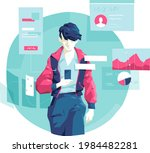 a young guy checking news and... | Shutterstock .eps vector #1984482281