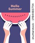 ripe slice of watermelon in the ...   Shutterstock .eps vector #1984483754