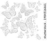 graphic flying gray butterflies.... | Shutterstock .eps vector #1984516661