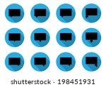 set of 12 black dialog bubbles... | Shutterstock .eps vector #198451931