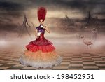 alice in wonderland wearing... | Shutterstock . vector #198452951