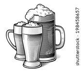 three glasses of beer   vintage ...   Shutterstock .eps vector #198458657
