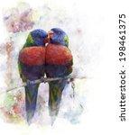 watercolor green parrot image... | Shutterstock . vector #198461375