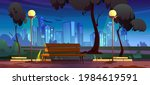 night city park with bench... | Shutterstock .eps vector #1984619591