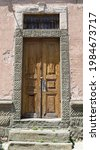 Old Orange Wooden Door With...