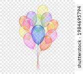 balloons 3d bunch set  isolated ...   Shutterstock .eps vector #1984695794