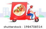 red retro fast delivery car ... | Shutterstock .eps vector #1984708514