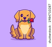 cute dog with rose flower... | Shutterstock .eps vector #1984710287