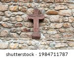 Red Sandstone Rock Cross With...