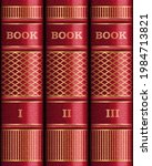 three red covers  spines of... | Shutterstock .eps vector #1984713821