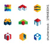 Virtual real estate house building logo construction innovation icon set