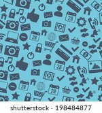 social media design over blue... | Shutterstock .eps vector #198484877