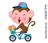 a monkey riding a bicycle | Shutterstock . vector #198487295
