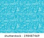 seamless doodle halloween... | Shutterstock .eps vector #198487469