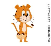 tiger collects mushrooms in a... | Shutterstock .eps vector #1984911947