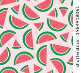watermelon on a pink background....   Shutterstock .eps vector #1984918061