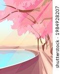 blooming sakura on lake bank....   Shutterstock .eps vector #1984928207