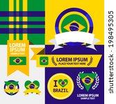 set of brazil flag  emblem and... | Shutterstock .eps vector #198495305