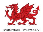 wales coat of arms red dragon... | Shutterstock .eps vector #1984954577