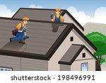 a vector illustration of roofer ...