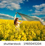 beautiful woman with wind... | Shutterstock . vector #1985045204