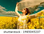 beautiful woman with wind... | Shutterstock . vector #1985045237