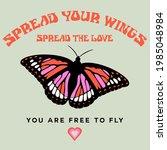 spread your wings retro groovy...   Shutterstock .eps vector #1985048984