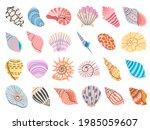 Tropical Seashell. Cartoon Clam ...