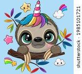 cute cartoon sloth with unicorn ...   Shutterstock .eps vector #1985101721