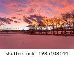 Sunset Winter Lake   Colorful...