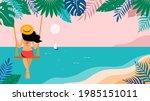 summer scene  young woman... | Shutterstock .eps vector #1985151011