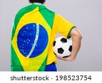 man with brazil flag and hold... | Shutterstock . vector #198523754