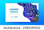 laundry service neon landing...   Shutterstock .eps vector #1985294531