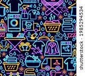 laundry seamless neon pattern....   Shutterstock .eps vector #1985294534