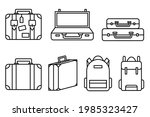 luggage icons set and...   Shutterstock .eps vector #1985323427