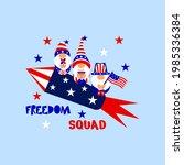 patriotic gnomes on rocket ... | Shutterstock .eps vector #1985336384
