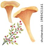 Watecolor Mushrooms With Forest ...