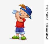 little boy drinks water | Shutterstock .eps vector #198574211