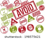 "Collection of 22 red and green grunge rubber stamps with text ""AVOID"" . Vector illustration"