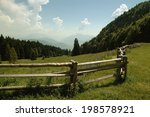 a fence in the mountains with a ... | Shutterstock . vector #198578921