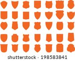 Vector Orange Shields Set, 35 shields