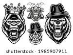 a set of black and white animal ... | Shutterstock .eps vector #1985907911